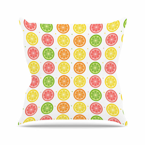 "Afe Images ""Citrus Pattern"" Multicolor Pink Illustration Outdoor Throw Pillow"