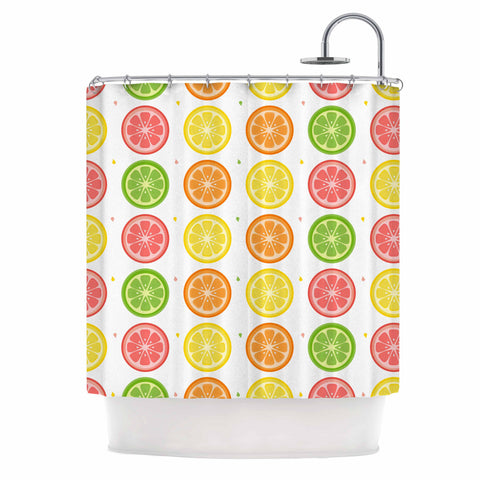 "Afe Images ""Citrus Pattern"" Multicolor Pink Illustration Shower Curtain"