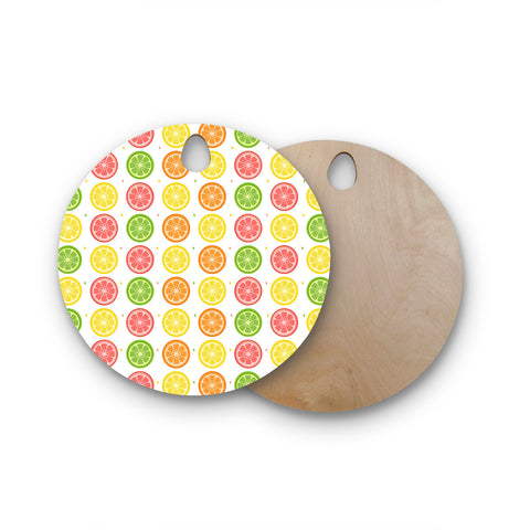 "Afe Images ""Citrus Pattern"" Multicolor Pink Illustration Round Wooden Cutting Board"