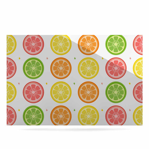 "Afe Images ""Citrus Pattern"" Multicolor Pink Illustration Luxe Rectangle Panel"