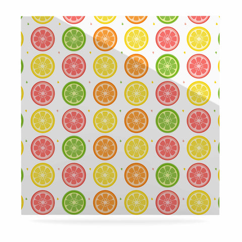 "Afe Images ""Citrus Pattern"" Multicolor Pink Illustration Luxe Square Panel"
