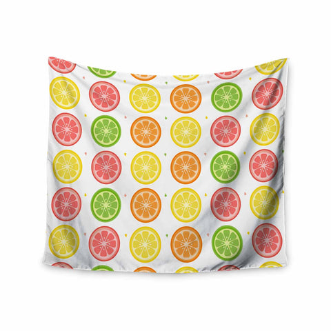 "Afe Images ""Citrus Pattern"" Multicolor Pink Illustration Wall Tapestry"