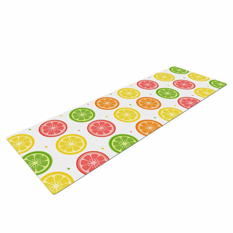 "Afe Images ""Citrus Pattern"" Multicolor Pink Illustration Yoga Mat"
