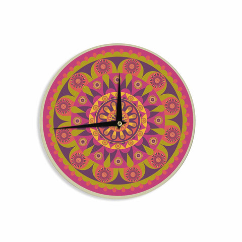 "afe images ""Mandala Design"" Multicolor Modern Ethnic Digital Illustration Wall Clock"