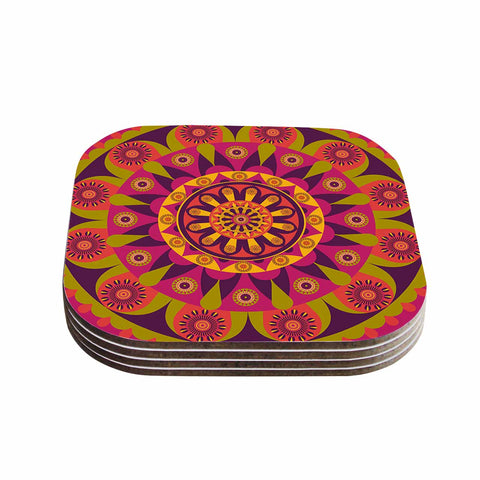 "afe images ""Mandala Design"" Multicolor Modern Ethnic Digital Illustration Coasters (Set of 4)"
