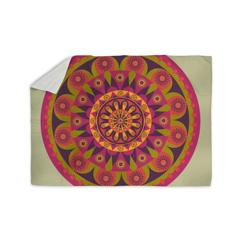 "afe images ""Mandala Design"" Multicolor Modern Ethnic Digital Illustration Sherpa Blanket"