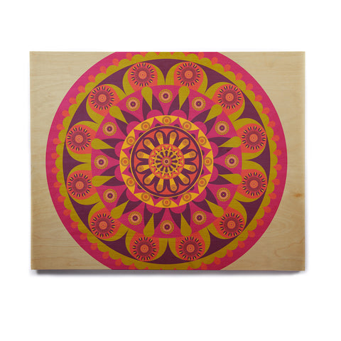 "afe images ""Mandala Design"" Multicolor Modern Ethnic Digital Illustration Birchwood Wall Art"