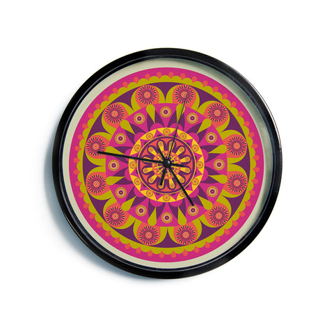 "afe images ""Mandala Design"" Multicolor Modern Ethnic Digital Illustration Modern Wall Clock"