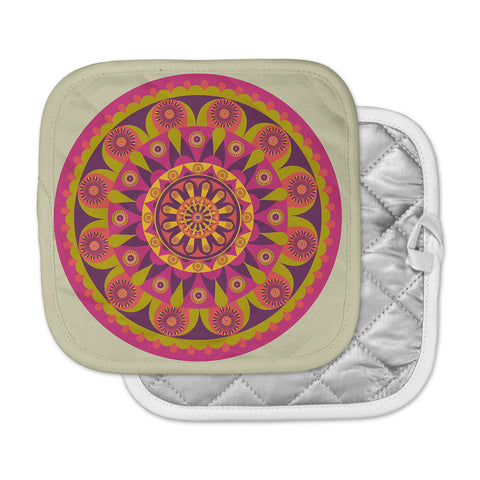 "afe images ""Mandala Design"" Multicolor Modern Ethnic Digital Illustration Pot Holder"
