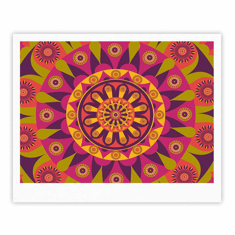 "afe images ""Mandala Design"" Multicolor Modern Ethnic Digital Illustration Fine Art Gallery Print"