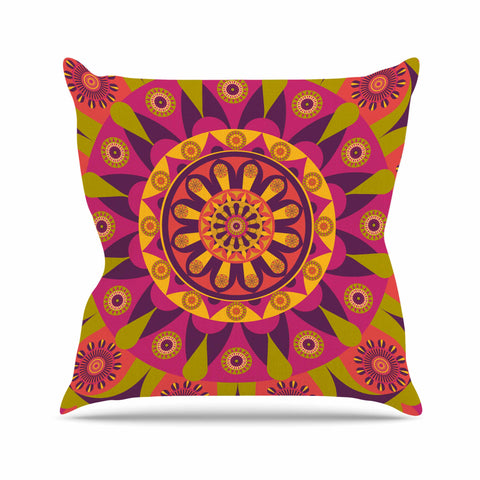 "afe images ""Mandala Design"" Multicolor Modern Ethnic Digital Illustration Outdoor Throw Pillow"