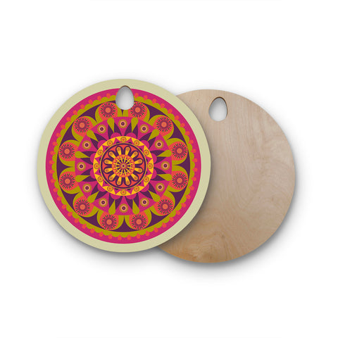 "afe images ""Mandala Design"" Multicolor Modern Ethnic Digital Illustration Round Wooden Cutting Board"