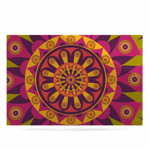 "afe images ""Mandala Design"" Multicolor Modern Ethnic Digital Illustration Luxe Rectangle Panel"