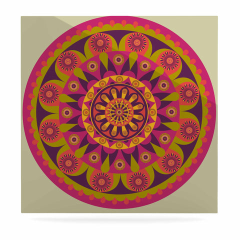 "afe images ""Mandala Design"" Multicolor Modern Ethnic Digital Illustration Luxe Square Panel"