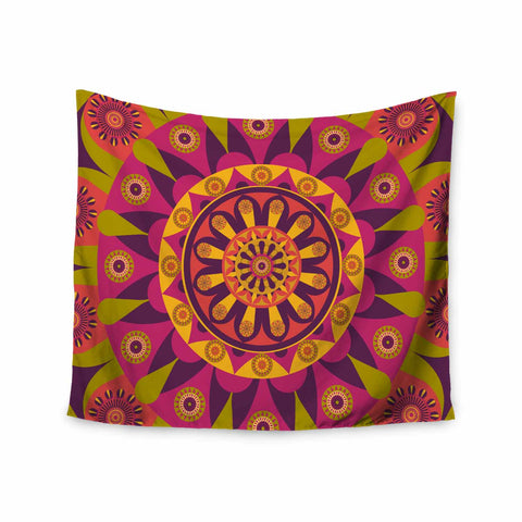 "afe images ""Mandala Design"" Multicolor Modern Ethnic Digital Illustration Wall Tapestry"