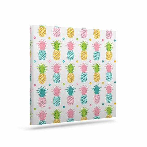 "afe images ""Pineapple Pattern"" Multicolor Pattern Food Digital Illustration Art Canvas"