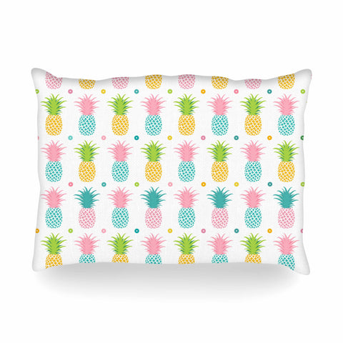 "afe images ""Pineapple Pattern"" Multicolor Pattern Food Digital Illustration Oblong Pillow"