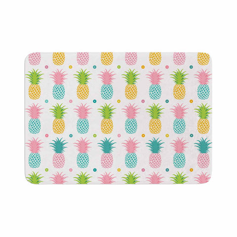"afe images ""Pineapple Pattern"" Multicolor Pattern Food Digital Illustration Memory Foam Bath Mat"