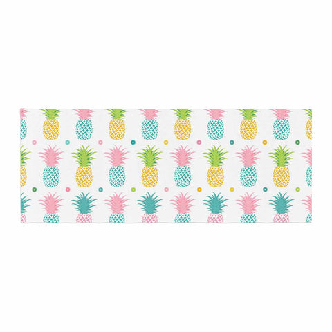 "afe images ""Pineapple Pattern"" Multicolor Pattern Food Digital Illustration Bed Runner"