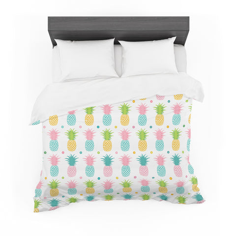"afe images ""Pineapple Pattern"" Multicolor Pattern Food Digital Illustration Featherweight Duvet Cover"