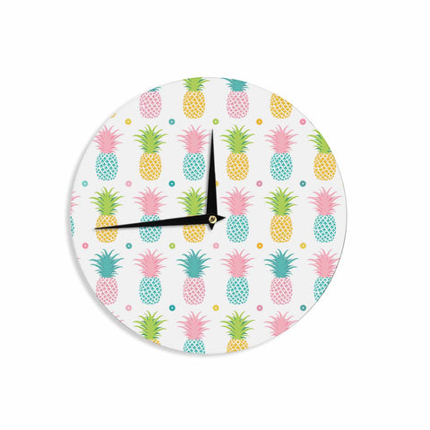"afe images ""Pineapple Pattern"" Multicolor Pattern Food Digital Illustration Wall Clock"