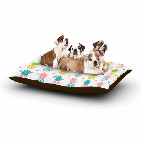 "afe images ""Pineapple Pattern"" Multicolor Pattern Food Digital Illustration Dog Bed"