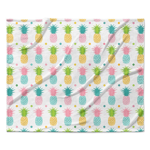 "afe images ""Pineapple Pattern"" Multicolor Pattern Food Digital Illustration Fleece Throw Blanket"