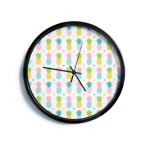 "afe images ""Pineapple Pattern"" Multicolor Pattern Food Digital Illustration Modern Wall Clock"
