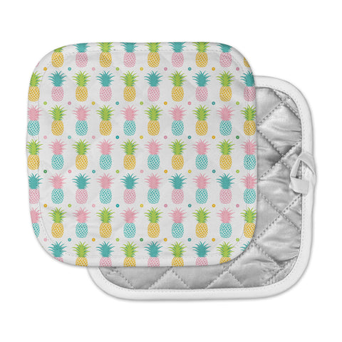 "afe images ""Pineapple Pattern"" Multicolor Pattern Food Digital Illustration Pot Holder"