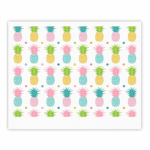 "afe images ""Pineapple Pattern"" Multicolor Pattern Food Digital Illustration Fine Art Gallery Print"