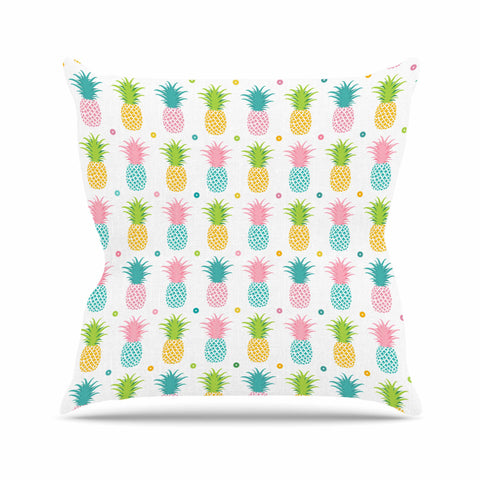 "afe images ""Pineapple Pattern"" Multicolor Pattern Food Digital Illustration Outdoor Throw Pillow"