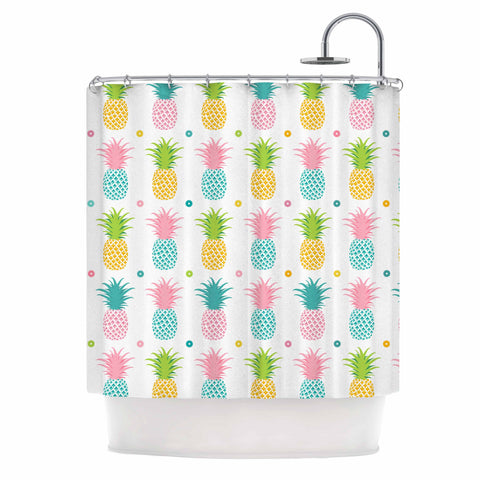 "afe images ""Pineapple Pattern"" Multicolor Pattern Food Digital Illustration Shower Curtain"