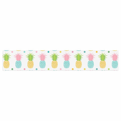 "afe images ""Pineapple Pattern"" Multicolor Pattern Food Digital Illustration Table Runner"