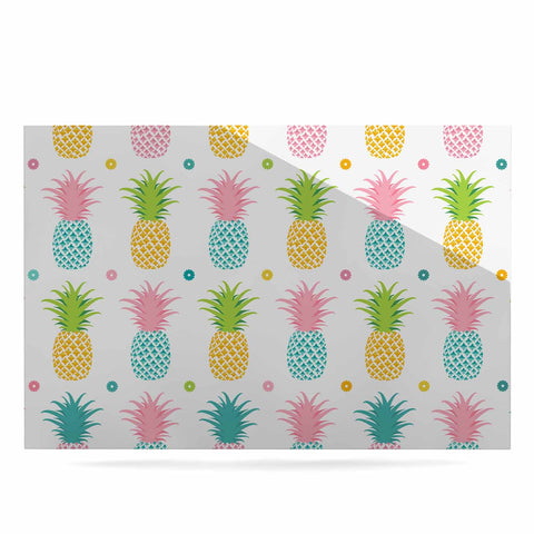 "afe images ""Pineapple Pattern"" Multicolor Pattern Food Digital Illustration Luxe Rectangle Panel"