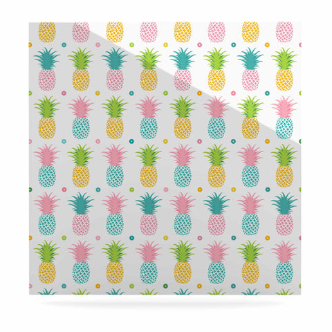"afe images ""Pineapple Pattern"" Multicolor Pattern Food Digital Illustration Luxe Square Panel"
