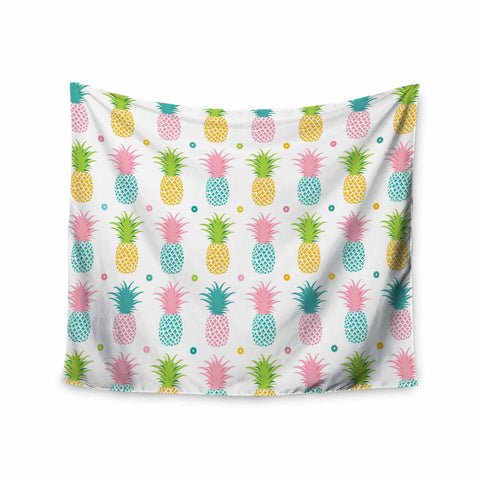 "afe images ""Pineapple Pattern"" Multicolor Pattern Food Digital Illustration Wall Tapestry"
