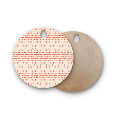 "afe images ""Tribal Arrows2"" Orange Brown Tribal Pattern Illustration Digital Round Wooden Cutting Board"