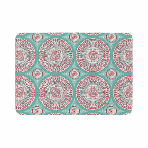"afe images ""Mandala Pattern2"" Green Multicolor Ethnic Pattern Illustration Digital Memory Foam Bath Mat"