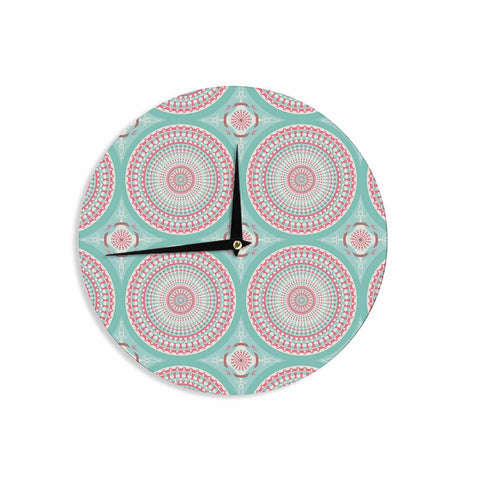 "afe images ""Mandala Pattern2"" Green Multicolor Ethnic Pattern Illustration Digital Wall Clock"