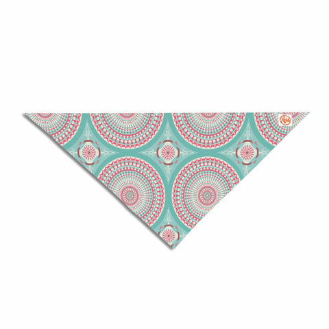 "afe images ""Mandala Pattern2"" Green Multicolor Ethnic Pattern Illustration Digital Pet Bandana"