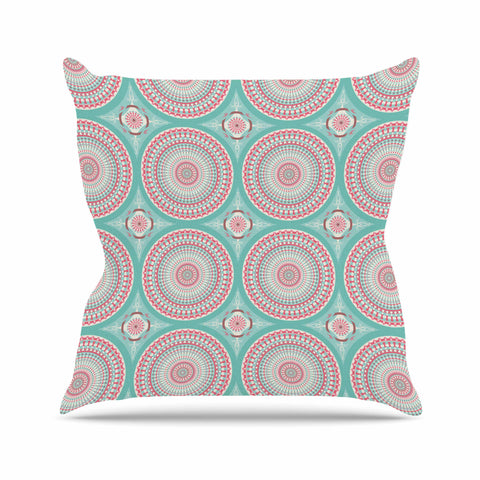 "afe images ""Mandala Pattern2"" Green Multicolor Ethnic Pattern Illustration Digital Throw Pillow"