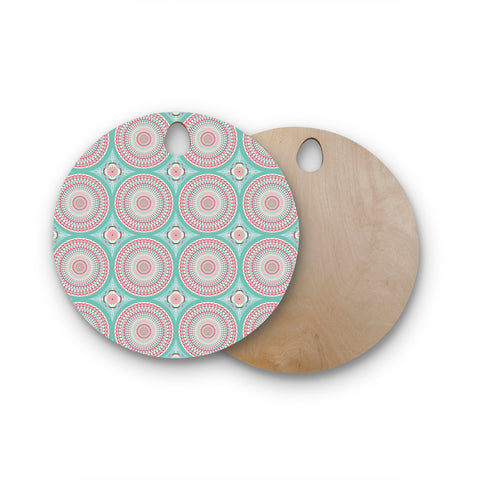 "afe images ""Mandala Pattern2"" Green Multicolor Ethnic Pattern Illustration Digital Round Wooden Cutting Board"