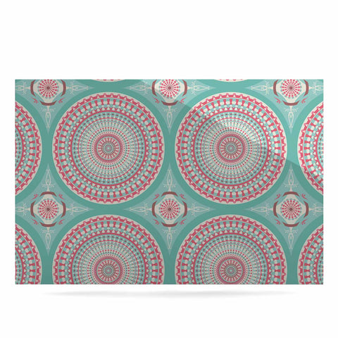 "afe images ""Mandala Pattern2"" Green Multicolor Ethnic Pattern Illustration Digital Luxe Rectangle Panel"