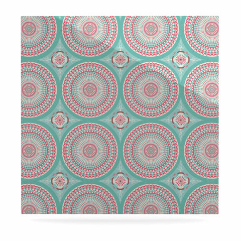 "afe images ""Mandala Pattern2"" Green Multicolor Ethnic Pattern Illustration Digital Luxe Square Panel"