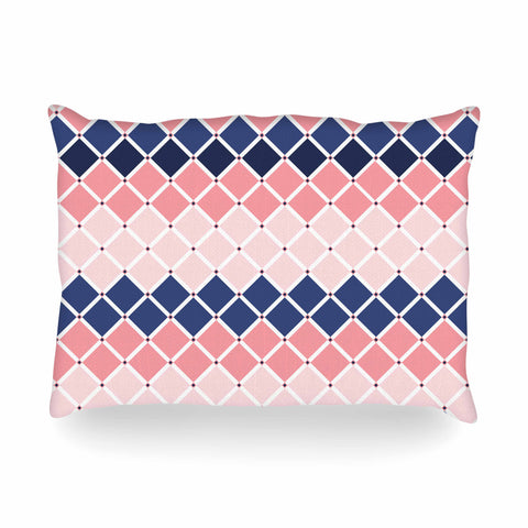 "afe images ""Diamond Tiles"" Pink Blue Diamond Pattern Illustration Digital Oblong Pillow"