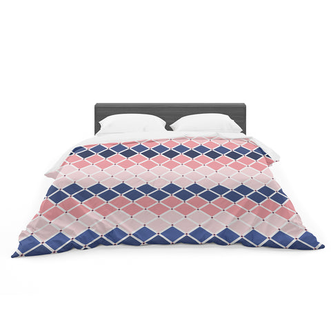 "afe images ""Diamond Tiles"" Pink Blue Diamond Pattern Illustration Digital Featherweight Duvet Cover"