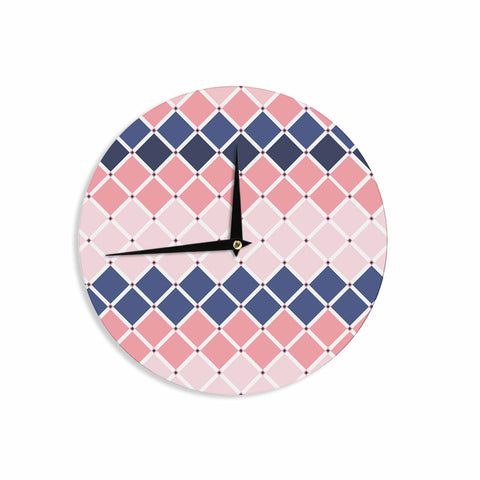 "afe images ""Diamond Tiles"" Pink Blue Diamond Pattern Illustration Digital Wall Clock"