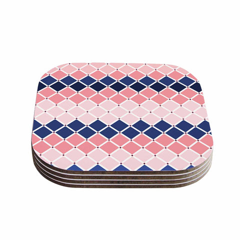 "afe images ""Diamond Tiles"" Pink Blue Diamond Pattern Illustration Digital Coasters (Set of 4)"
