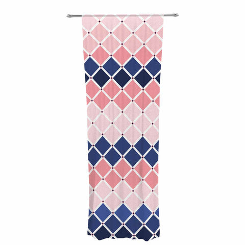 "afe images ""Diamond Tiles"" Pink Blue Diamond Pattern Illustration Digital Decorative Sheer Curtain"
