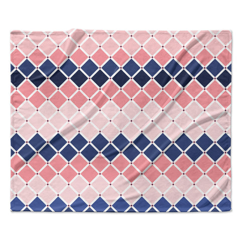 "afe images ""Diamond Tiles"" Pink Blue Diamond Pattern Illustration Digital Fleece Throw Blanket"